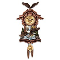 """""""Moments Of Majesty"""" Bald Eagle Handcrafted Wall Clock"""