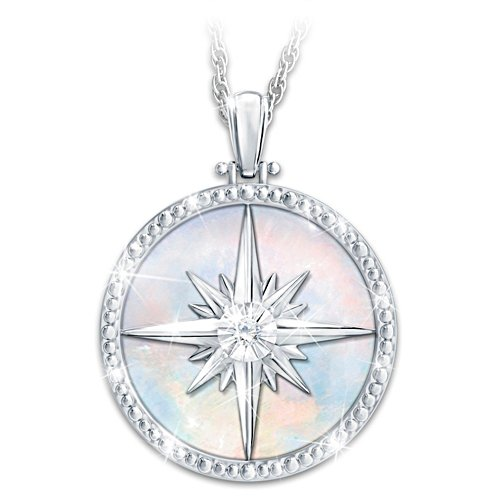 'Always My Daughter' Diamond Compass Rose Pendant Necklace