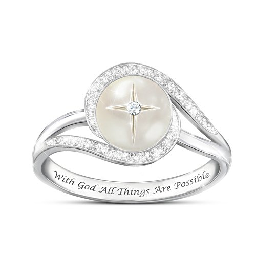 """""""God's Pearl Of Wisdom"""" Mother-Of-Pearl And Diamond Ring"""