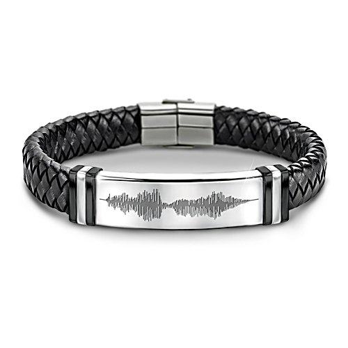 """I Love You"" Sound Wave Design Leather Bracelet For Son"