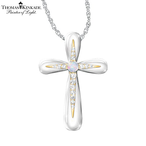 Thomas Kinkade Australian Opal Cross Pendant Necklace