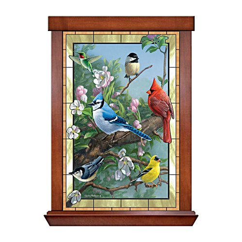'Window To Nature' Songbird Stained Glass Wall Décor