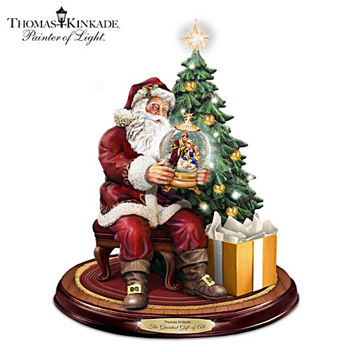 Illuminated Santa Sculpture With Thomas Kinkade Narration