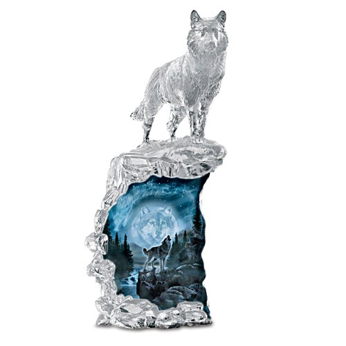 """Al Agnew """"Soul Of The Night"""" Illuminated Wolf Sculpture"""