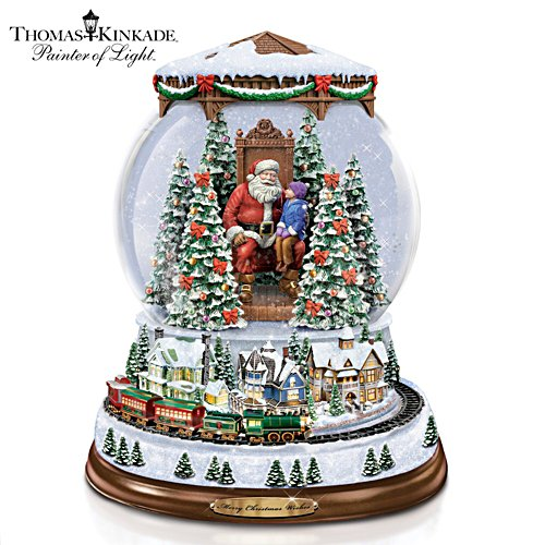 "Thomas Kinkade ""A Visit With Santa"" Illuminated Snowglobe"