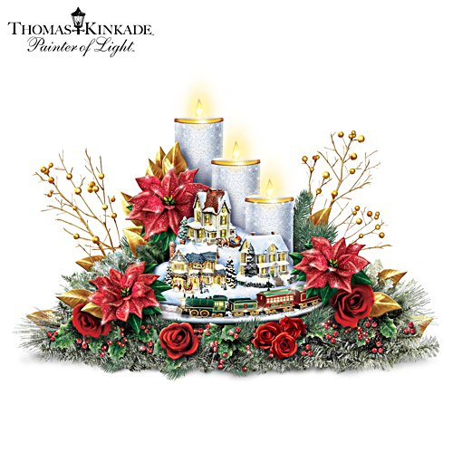 Thomas Kinkade Christmas Centrepiece With Lights And Motion