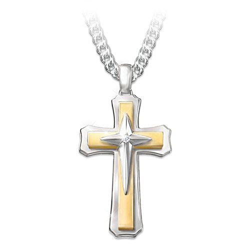 """Strength Of Faith"" Men's Cross Diamond Pendant Necklace"