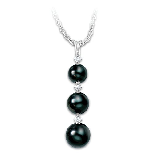 'Today, Tomorrow, Always' Diamond & Black Pearl Ladies' Pendant