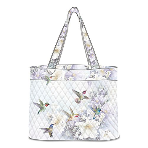 "Lena Liu ""Garden Treasures"" Hummingbird Art Quilted Tote Bag"
