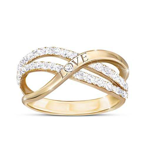"""Dance Of Love"" Engraved Ring With 2 Dozen Genuine Diamonds"