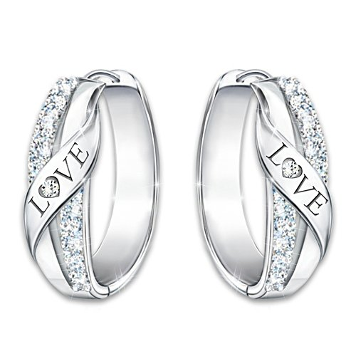 """Hugs Of Love"" Women's Engraved Diamond Hoop Earrings"