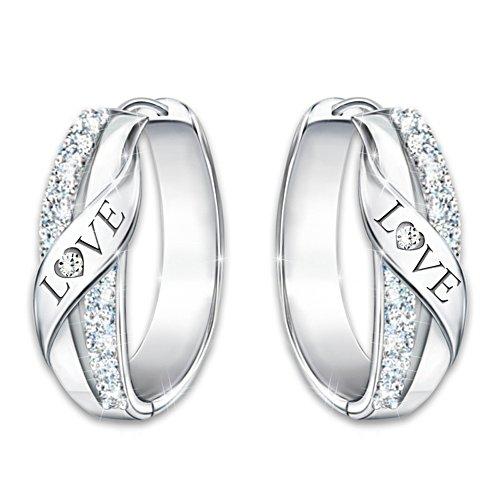 """""""Hugs Of Love"""" Women's Engraved Diamond Hoop Earrings"""