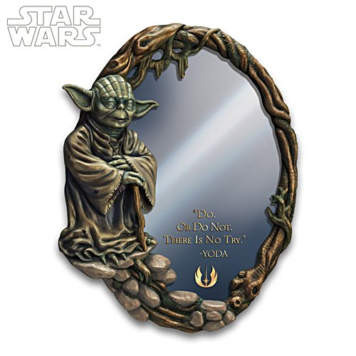 STAR WARS Glass Mirror With Sculpted Yoda