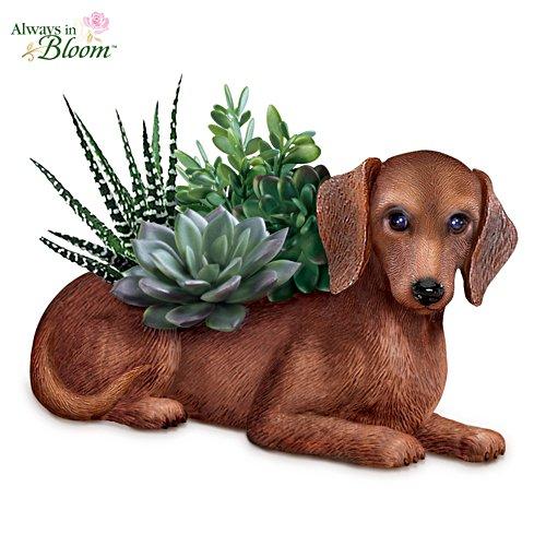Dackel-Gärtner — Handbemalte Hundeskulptur