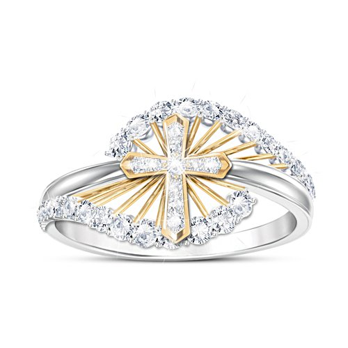 """Light Of Faith"" Women's Religious White Topaz Ring"