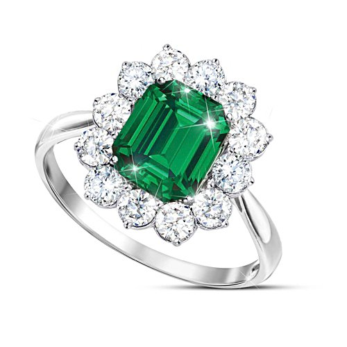 """Royal Cambridge"" Diamonesk Simulated Emerald Ring"