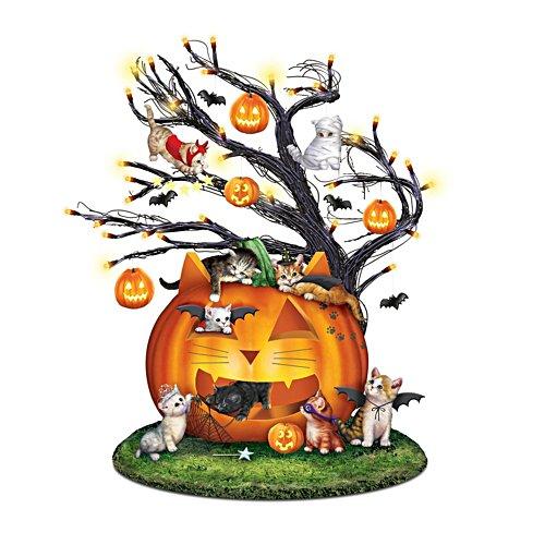 'Purr-fectly Mischievous' Illuminated Halloween Tree