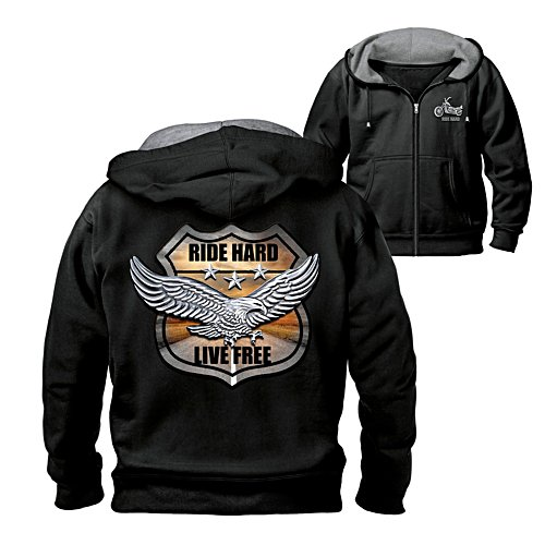"""Ride Hard On The Open Road"" Hoodie With Biker Art And Motto"