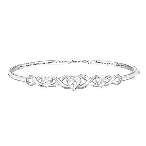 """Mother & Daughter, Love Always"" Diamond Bangle Bracelet"