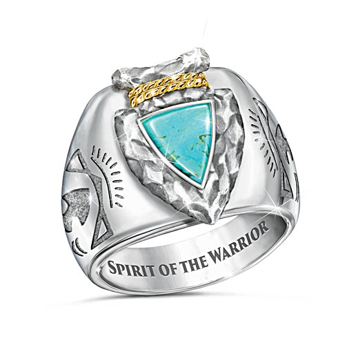 """""""Strength Of The Warrior"""" Arrowhead Design Turquoise Ring"""