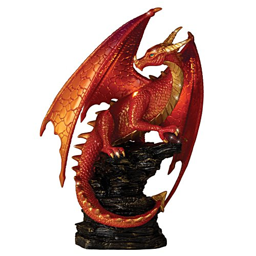 'Crimson Elder' Illuminated Dragon Sculpture