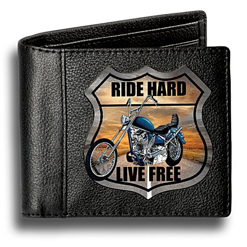 'Ride Hard' Men's RFID Blocking Leather Bikers' Wallet