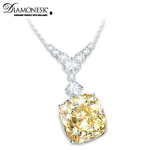 """Rising Star"" Diamonesk Simulated Yellow Diamond Necklace"