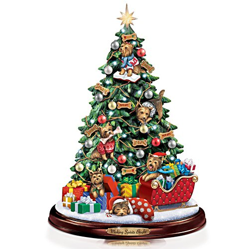 Yorkie Christmas Illuminated Tabletop Tree