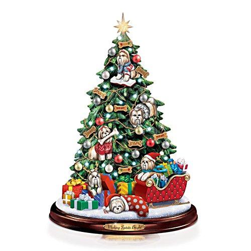 Shih Tzu-gewoel onder de kerstboom – tafelkerstboom
