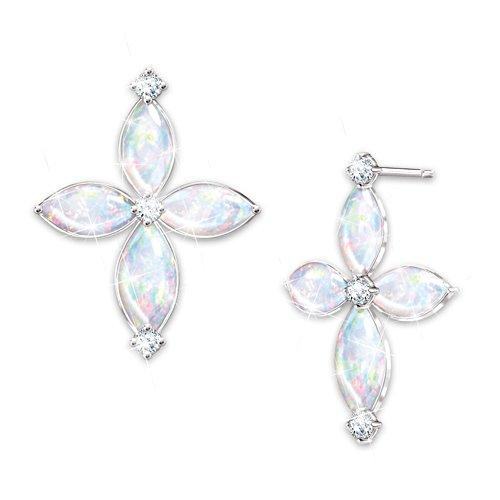 """The Holy Trinity"" Australian Opal And Diamond Earrings"