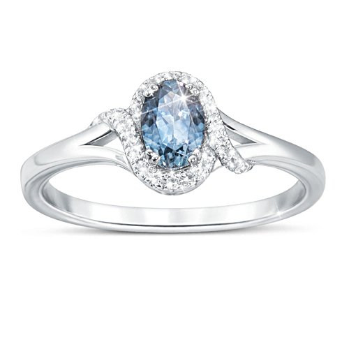 """Glacier Waters"""" Montana Sapphire Ring With White Topaz"""