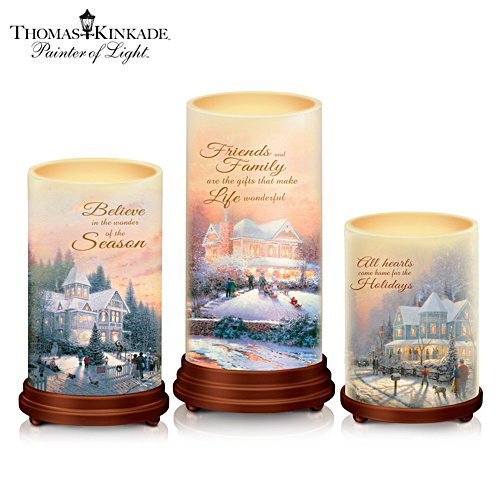 "Thomas Kinkade ""Pillars Of Light"" Waxed Flameless Candle Set"