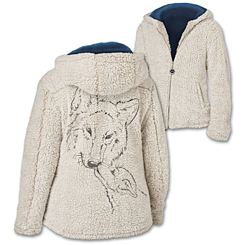 """Warmth Of The Wild"" Sherpa Jacket With Wolf Art"