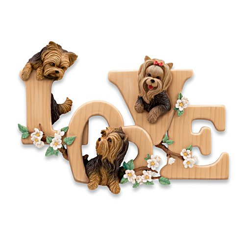 """Lovable Yorkies"" Sculptural Wall Decor"