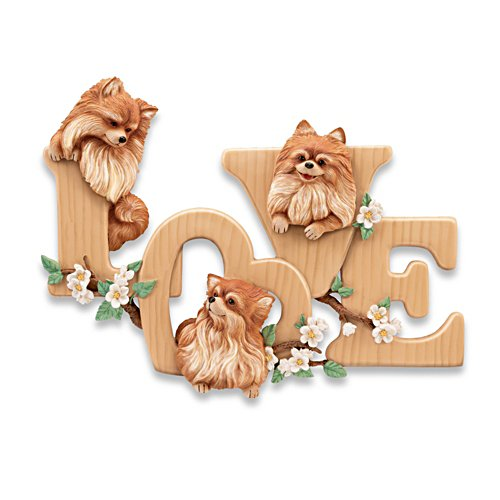 """Lovable Pomeranians"" Sculptural Wall Decor"