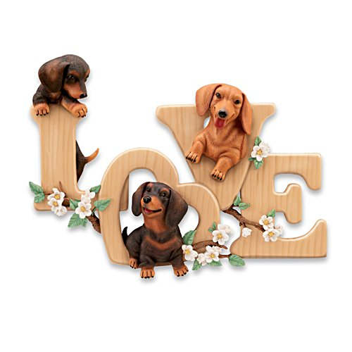 """Lovable Dachshunds"" Sculptural Wall Decor"