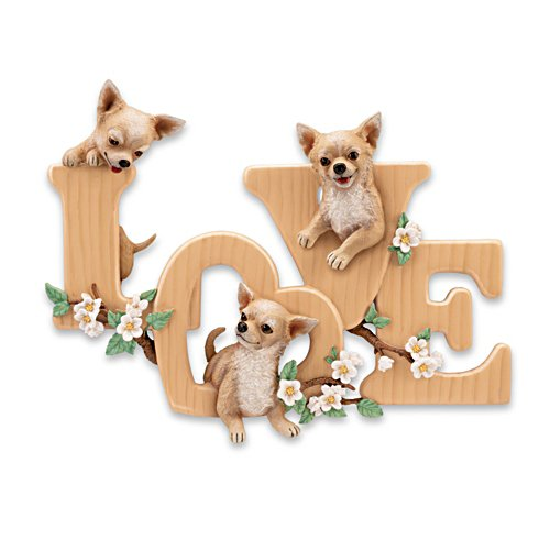 """Lovable Chihuahuas"" Sculptural Wall Decor"
