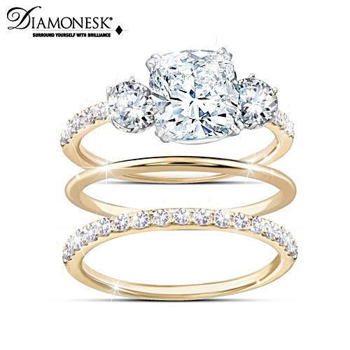 Royal Inspired 18K Gold-Plated Simulated Diamond Ring Set