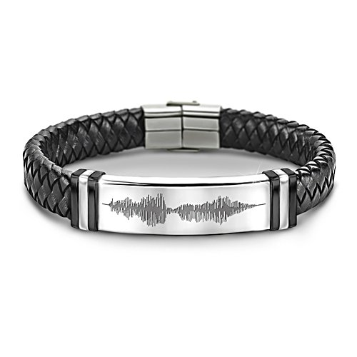 """I Love You"" Sound Wave Design Leather Bracelet For Grandson"