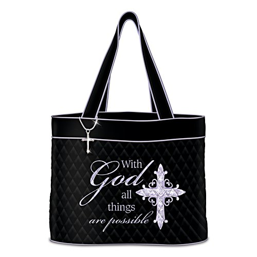 """""""With God All Things Are Possible"""" Tote Bag With Cross Charm"""