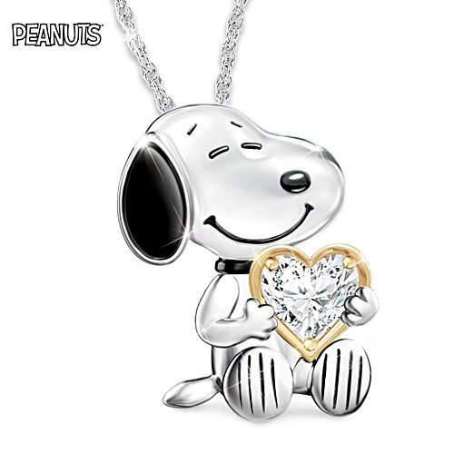 """Platinum-Plated """"Snoopy Forever"""" Pendant Necklace"""
