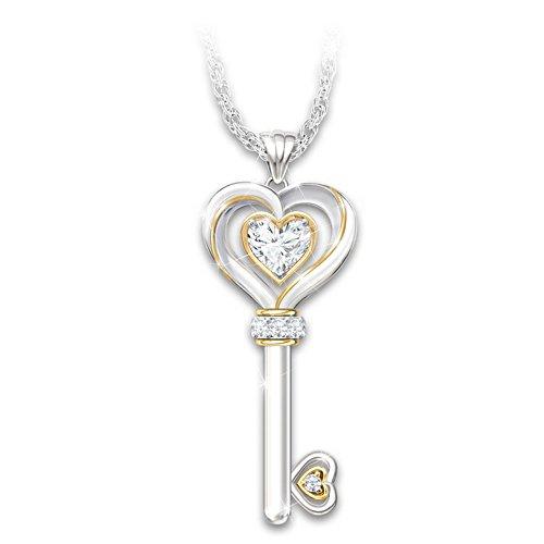 """Key to My Heart"" Genuine Gemstone Pendant"