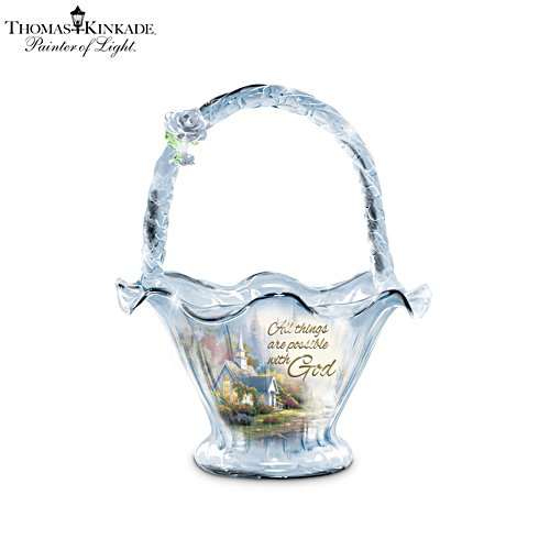 Thomas Kinkade 'All Things Are Possible' Hand-Blown Glass Bowl