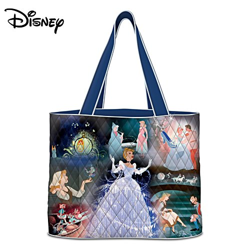 Disney Cinderella Quilted Tote Bag With Glass Slipper Charm