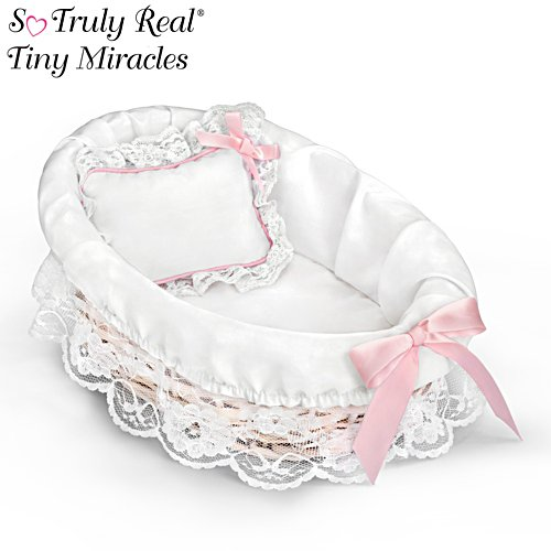 "Wicker Bassinet With White Liner And Pillow For 10"" Dolls"