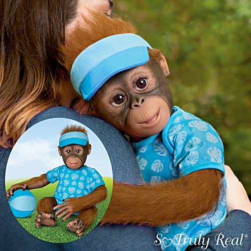 """Abe's Hugs"" Poseable Hugging Monkey Doll With Plush Ball"