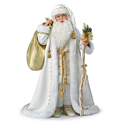 Illuminated White Christmas Santa Doll