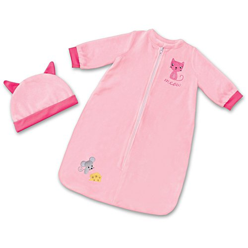 Cat & Mouse Sleep Sack And Cap For Baby Dolls