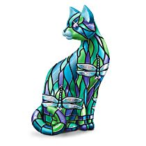 Louis Comfort Tiffany-Style Cat Figurine With Gem Accent