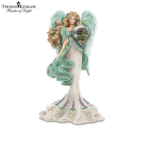 Thomas Kinkade Angel Figurine With Art Gazing Ball